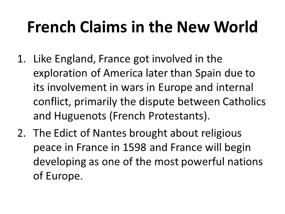 French Claims in the New World