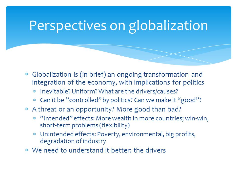 Perspectives on globalization