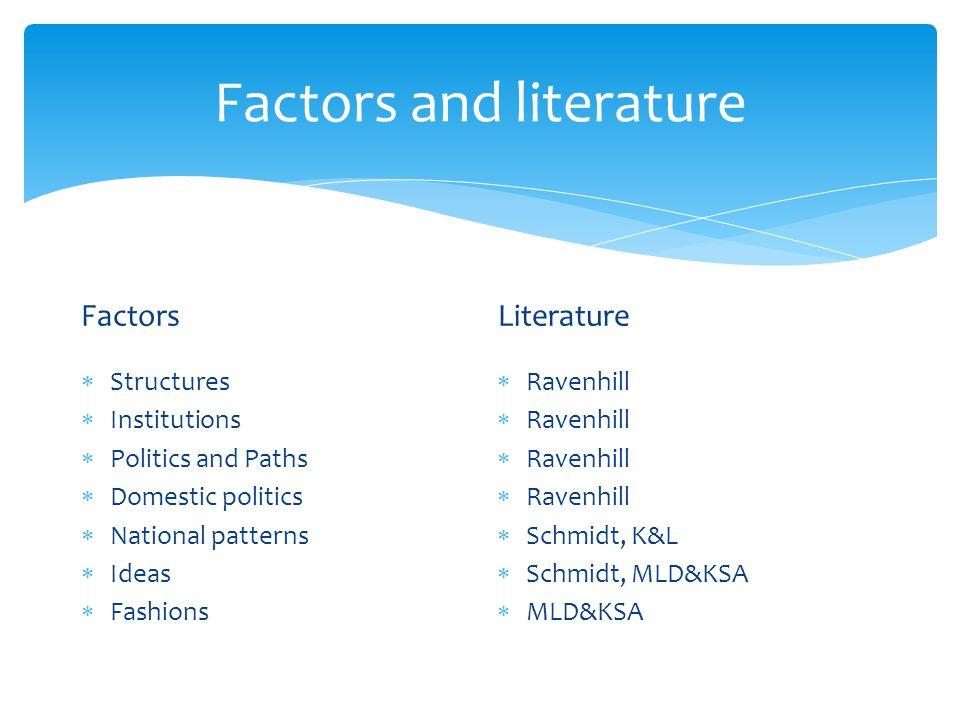 Factors and literature