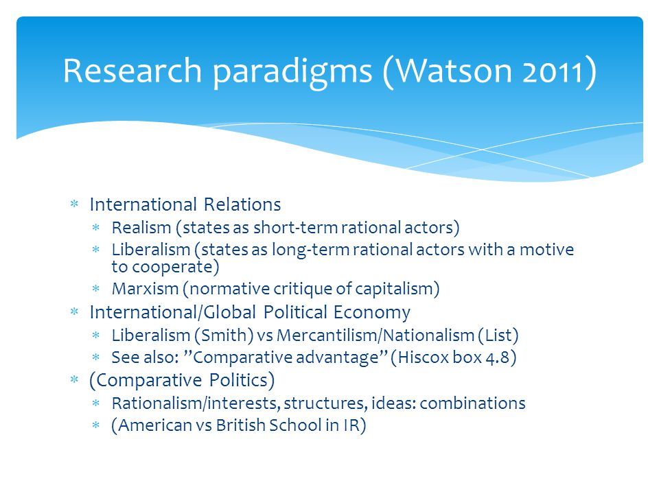 an analysis of the overarching paradigms of realism liberalism and constructivism International theory in a post-paradigmatic era: from substantive wagers to  among realism, liberalism, constructivism,  from substantive wagers to scientific.