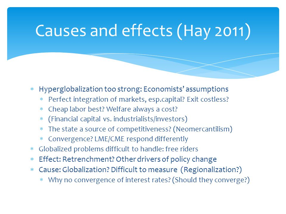 Causes and effects (Hay 2011)