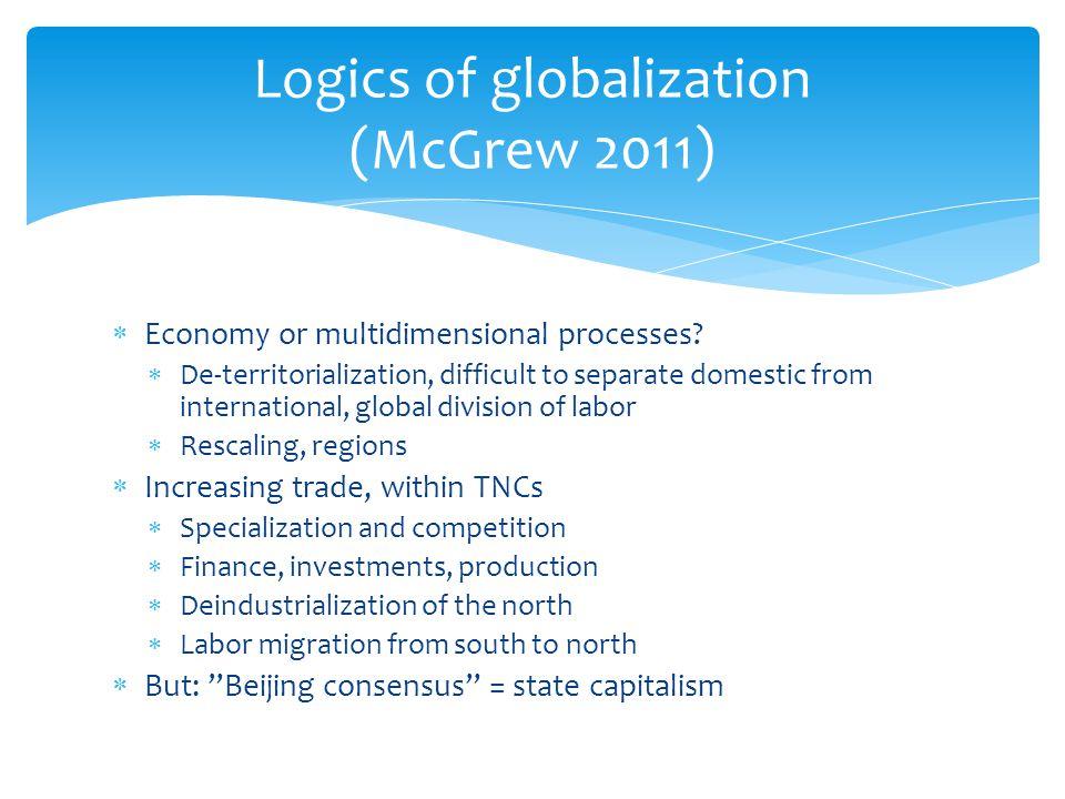 Logics of globalization (McGrew 2011)