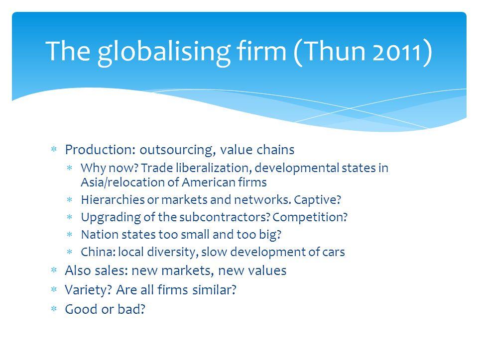 The globalising firm (Thun 2011)