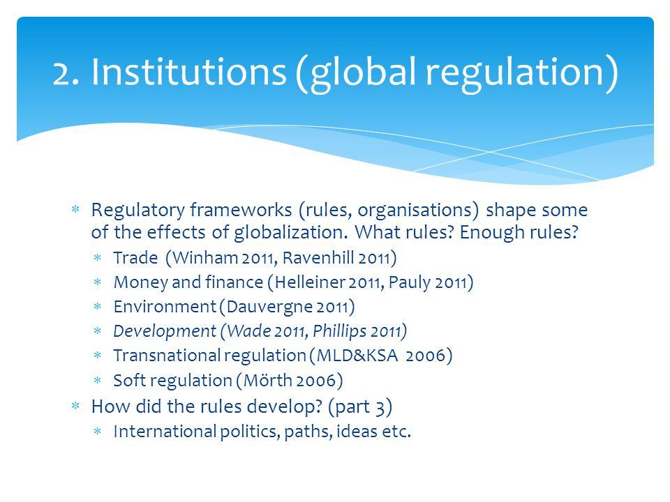 2. Institutions (global regulation)