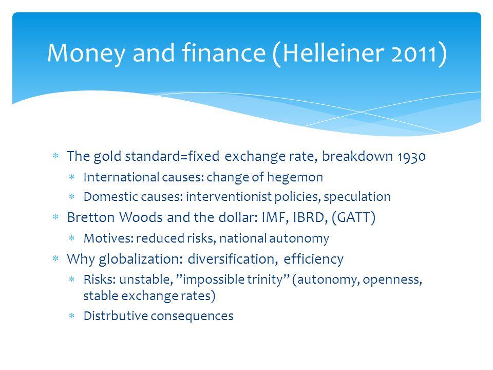 Money and finance (Helleiner 2011)