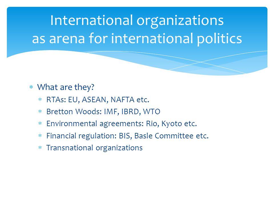 International organizations as arena for international politics