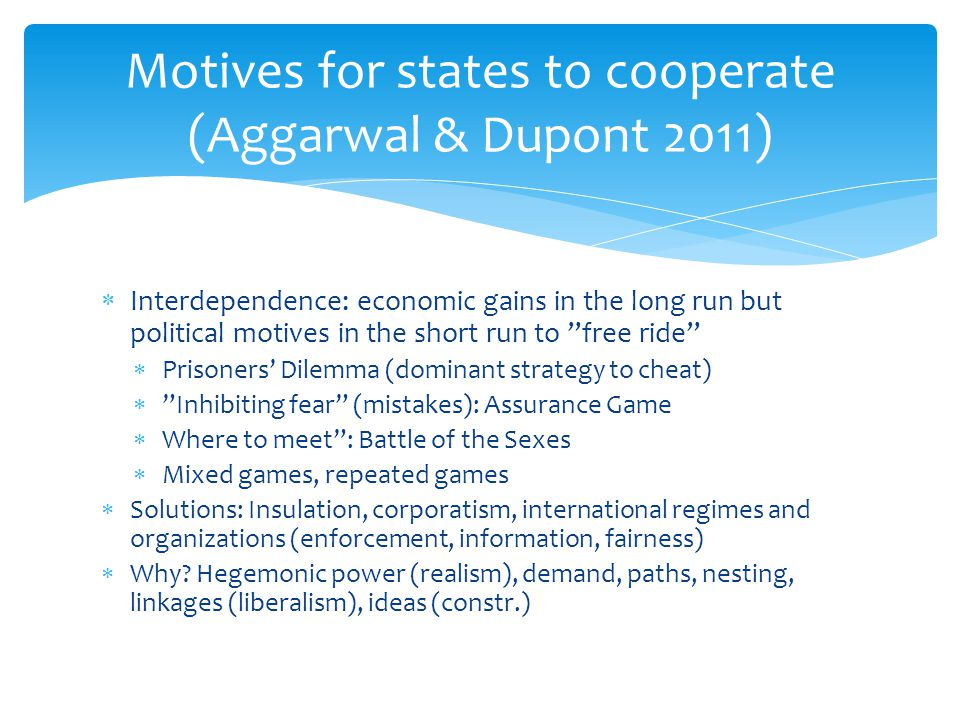 Motives for states to cooperate (Aggarwal & Dupont 2011)