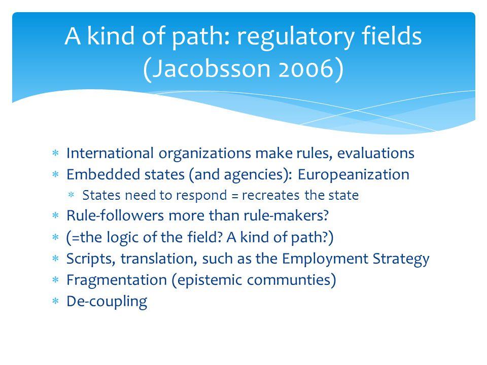 A kind of path: regulatory fields (Jacobsson 2006)