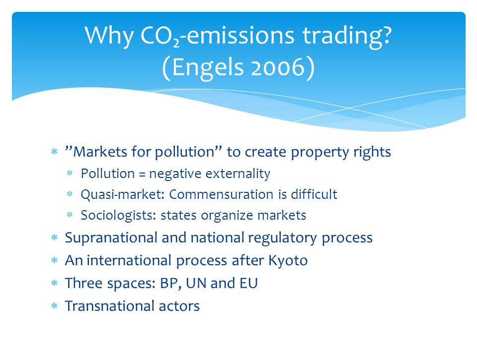 Why CO₂-emissions trading (Engels 2006)