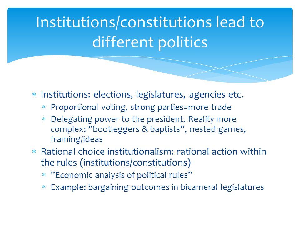 Institutions/constitutions lead to different politics