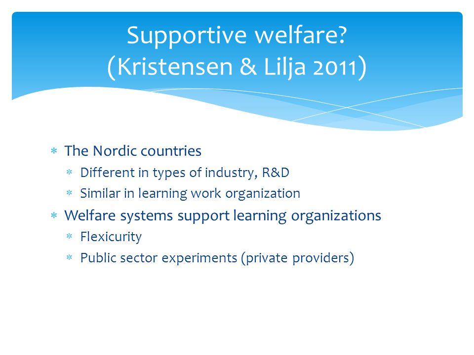 Supportive welfare (Kristensen & Lilja 2011)