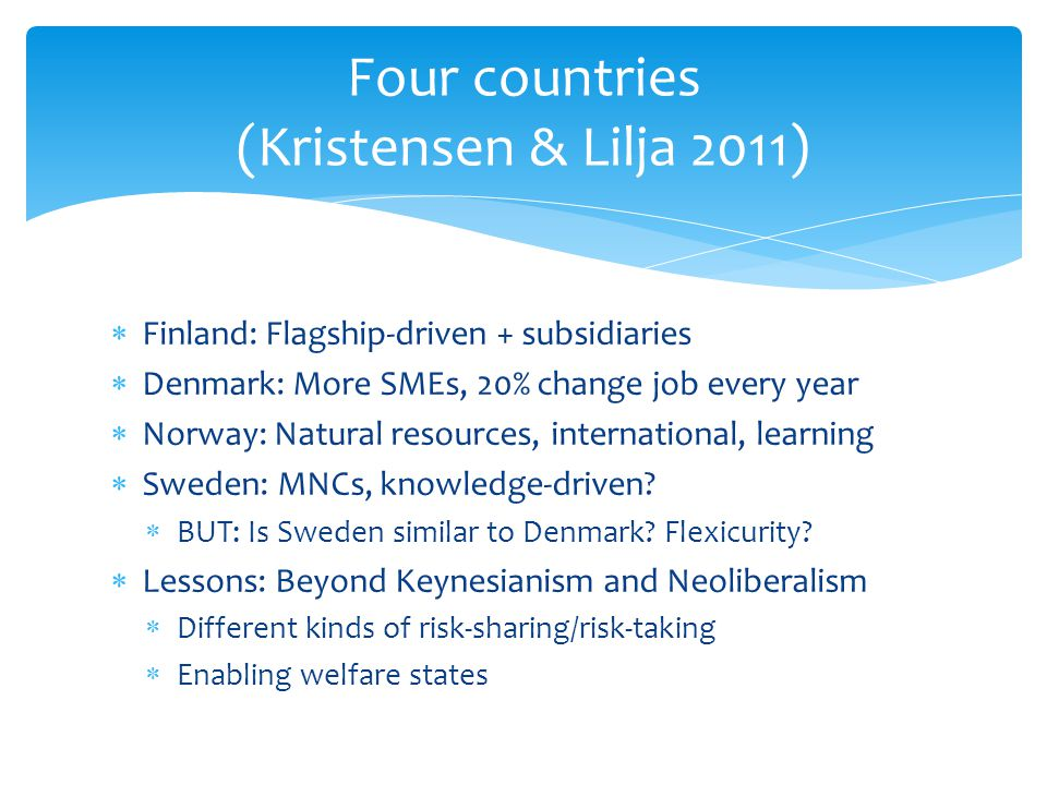 Four countries (Kristensen & Lilja 2011)