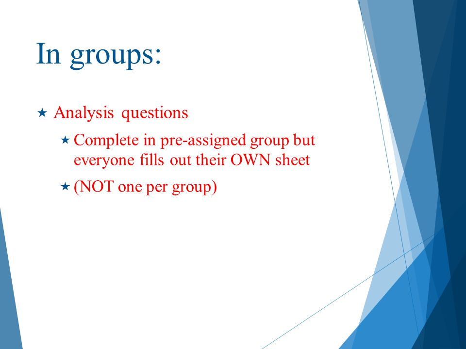 In groups: Analysis questions