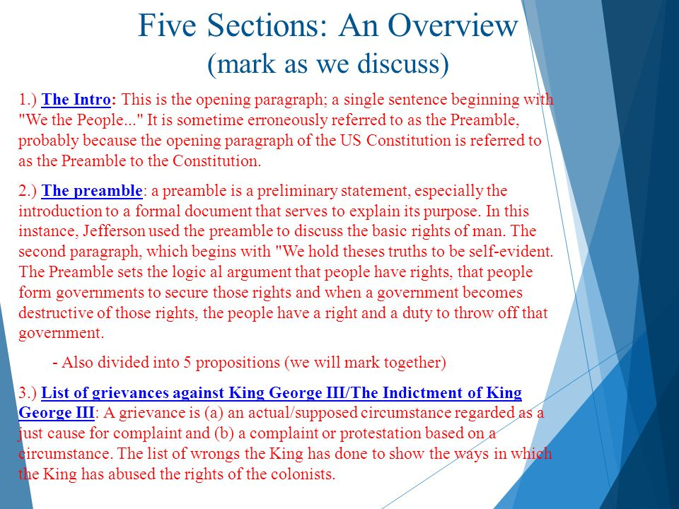 Five Sections: An Overview (mark as we discuss)