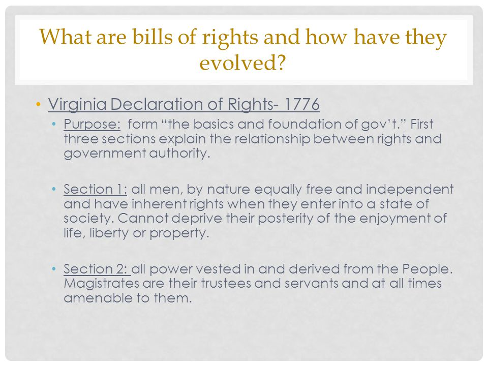 What are bills of rights and how have they evolved