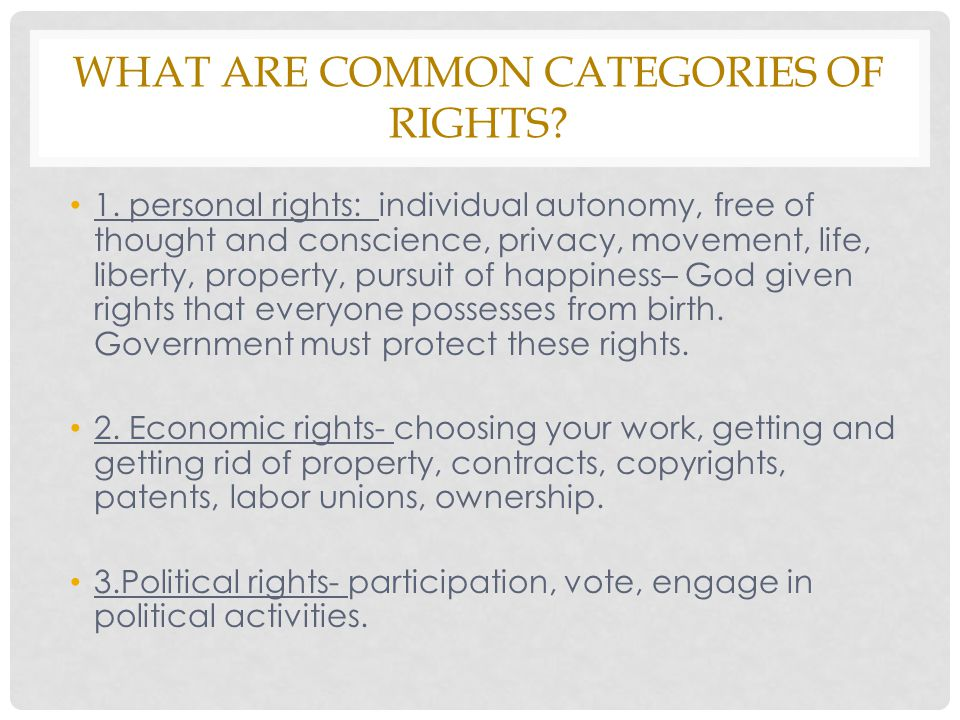 What are common categories of rights