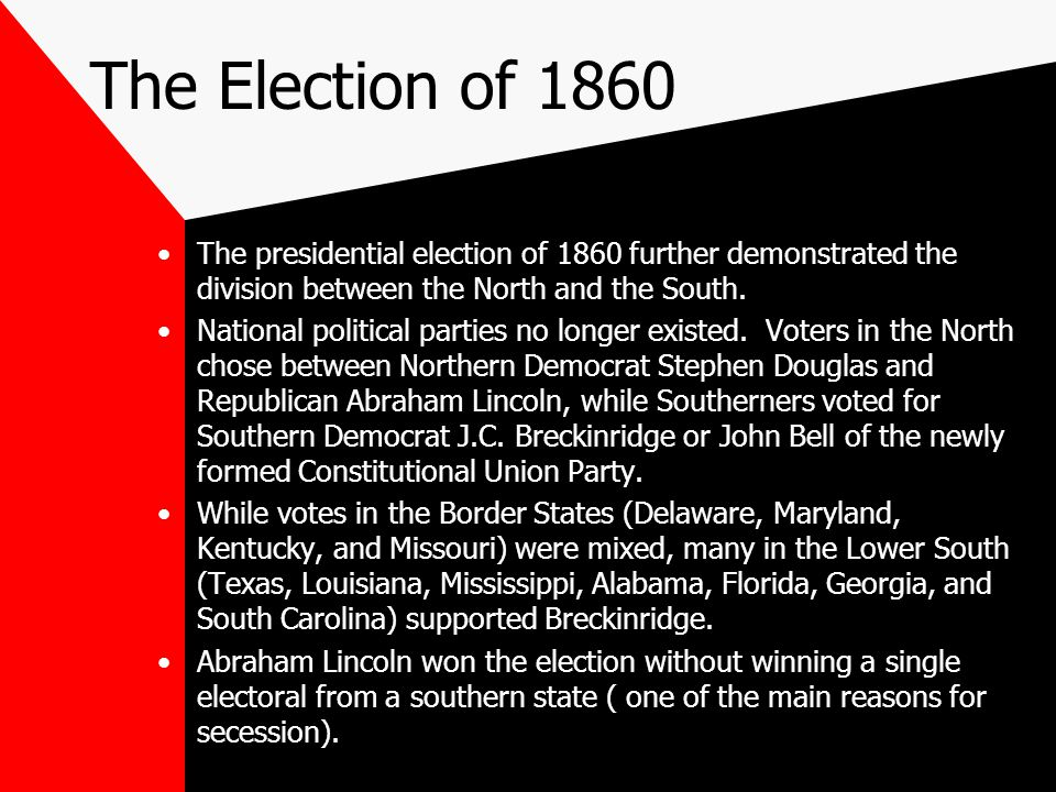 The Election of 1860 The presidential election of 1860 further demonstrated the division between the North and the South.