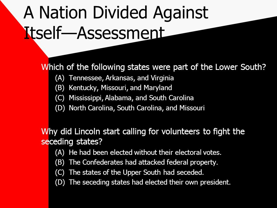 A Nation Divided Against Itself—Assessment