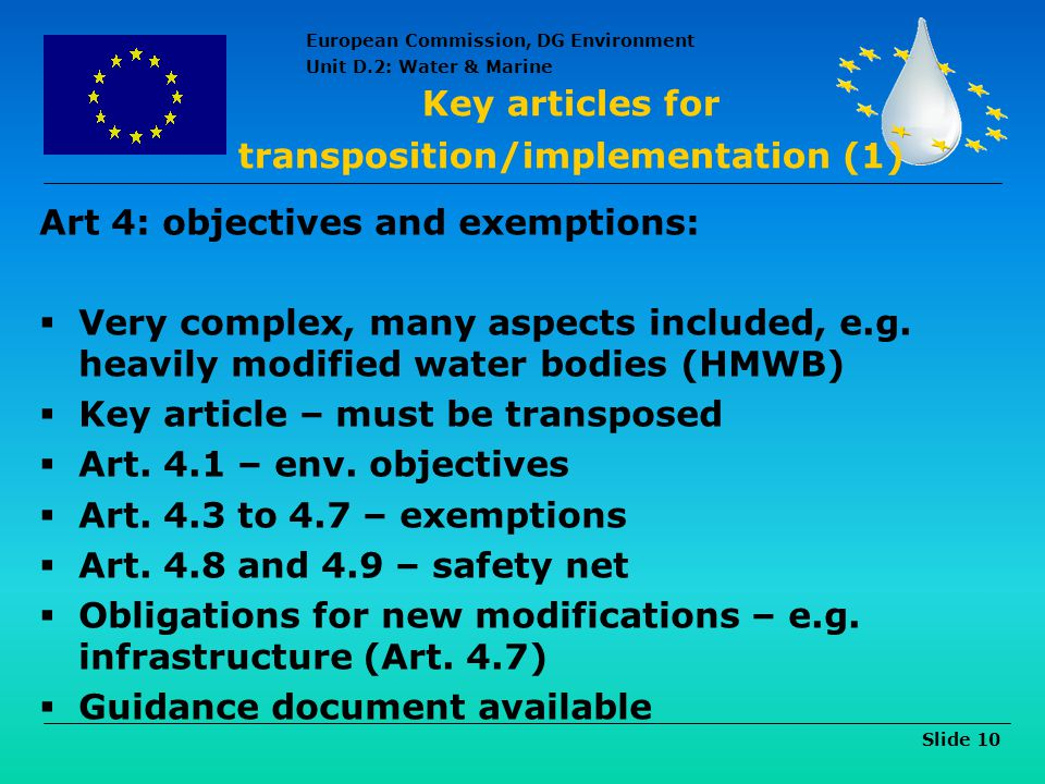 Key articles for transposition/implementation (1)