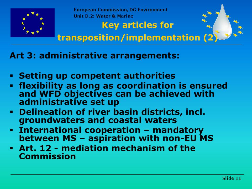 Key articles for transposition/implementation (2)