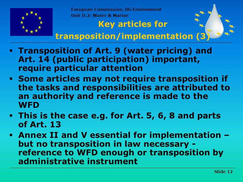 Key articles for transposition/implementation (3)