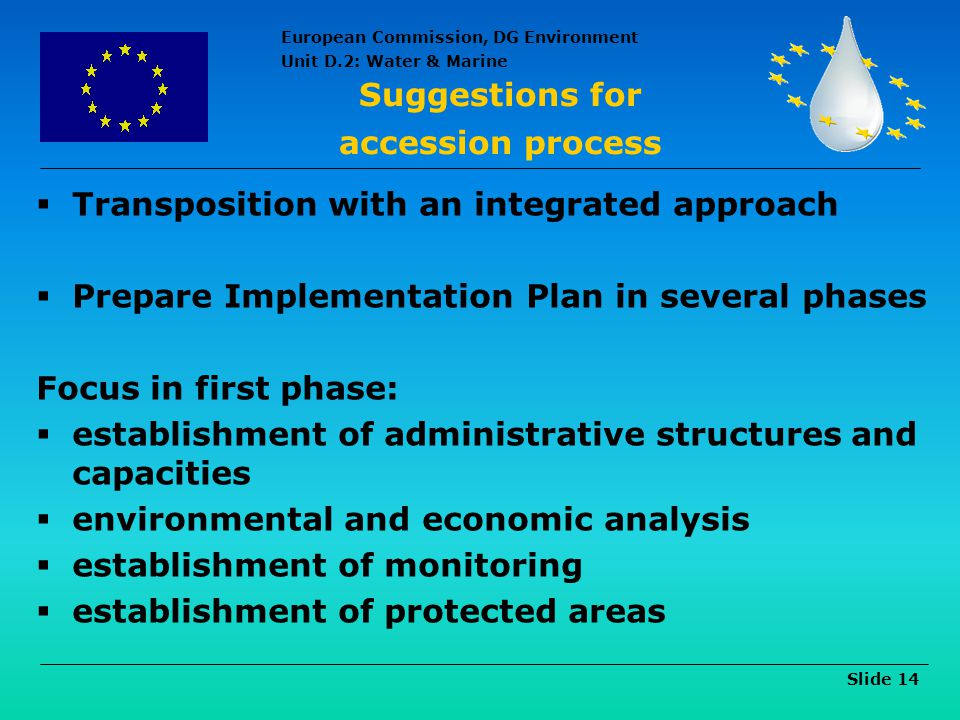 Suggestions for accession process