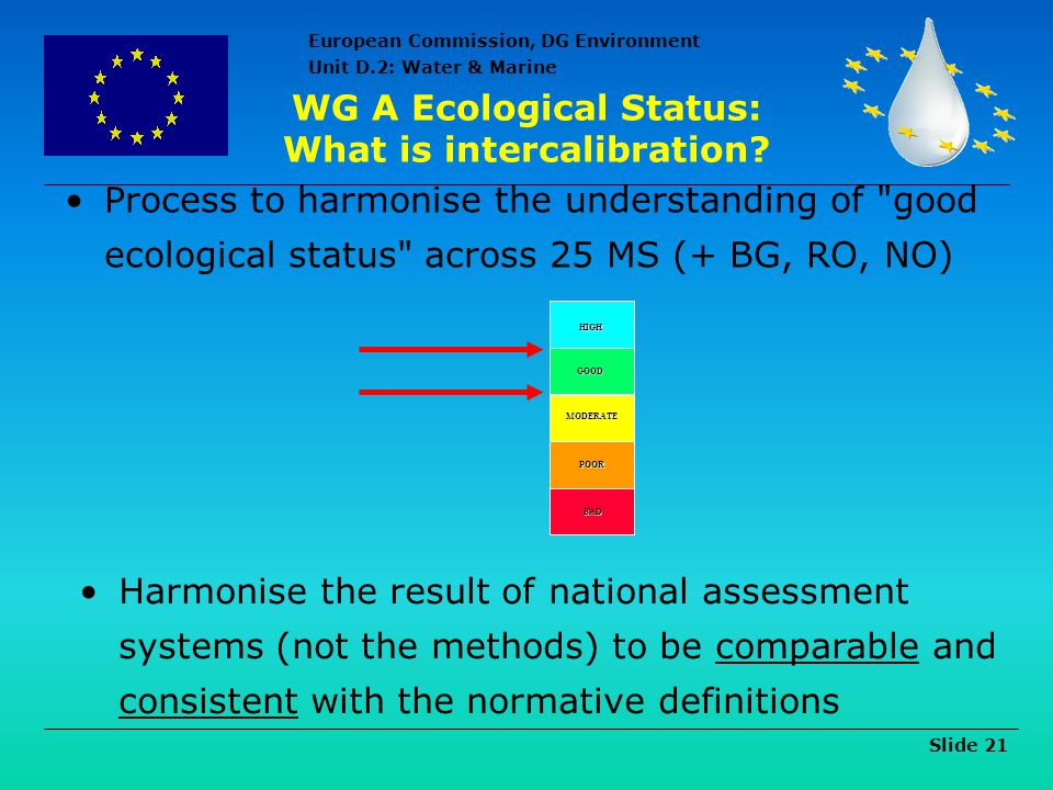 WG A Ecological Status: What is intercalibration