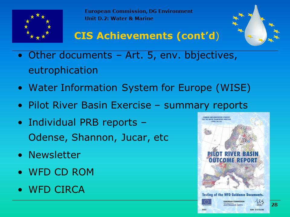 CIS Achievements (cont'd)