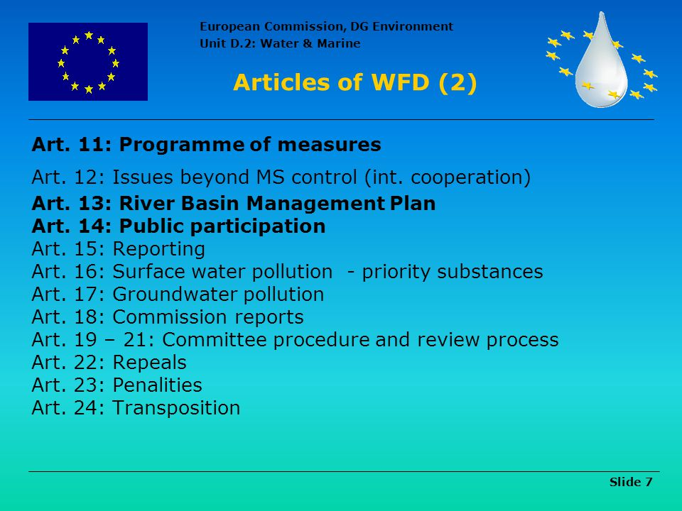 Articles of WFD (2) Art. 11: Programme of measures