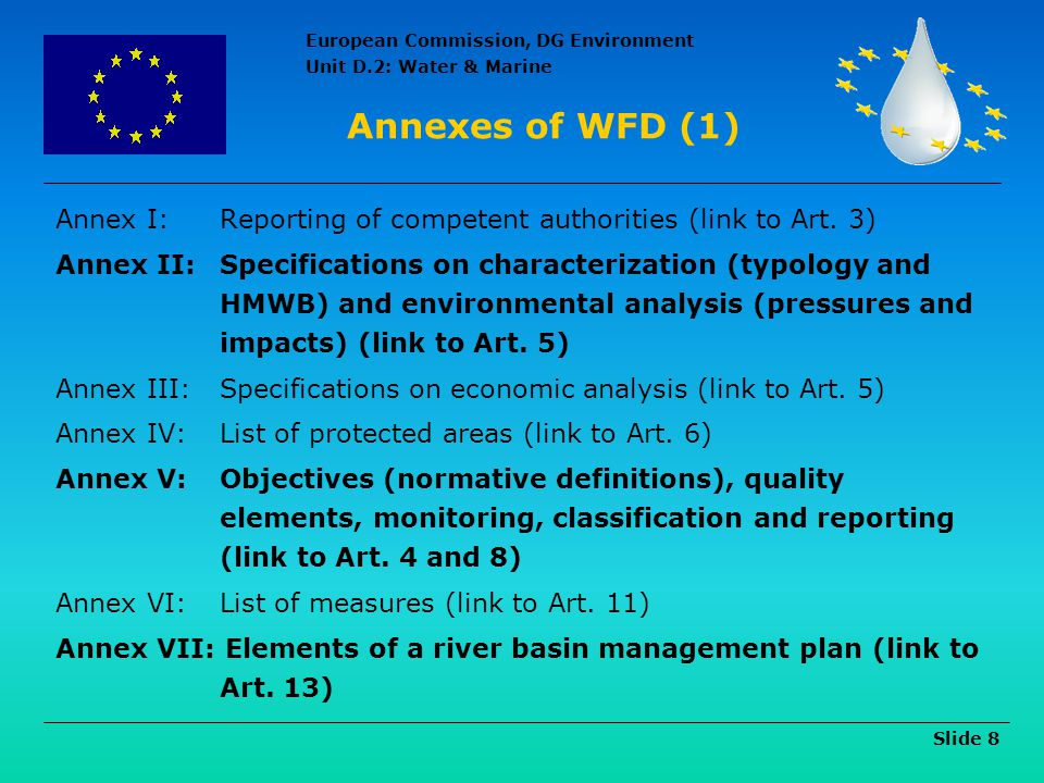 Annexes of WFD (1) Annex I: Reporting of competent authorities (link to Art. 3)