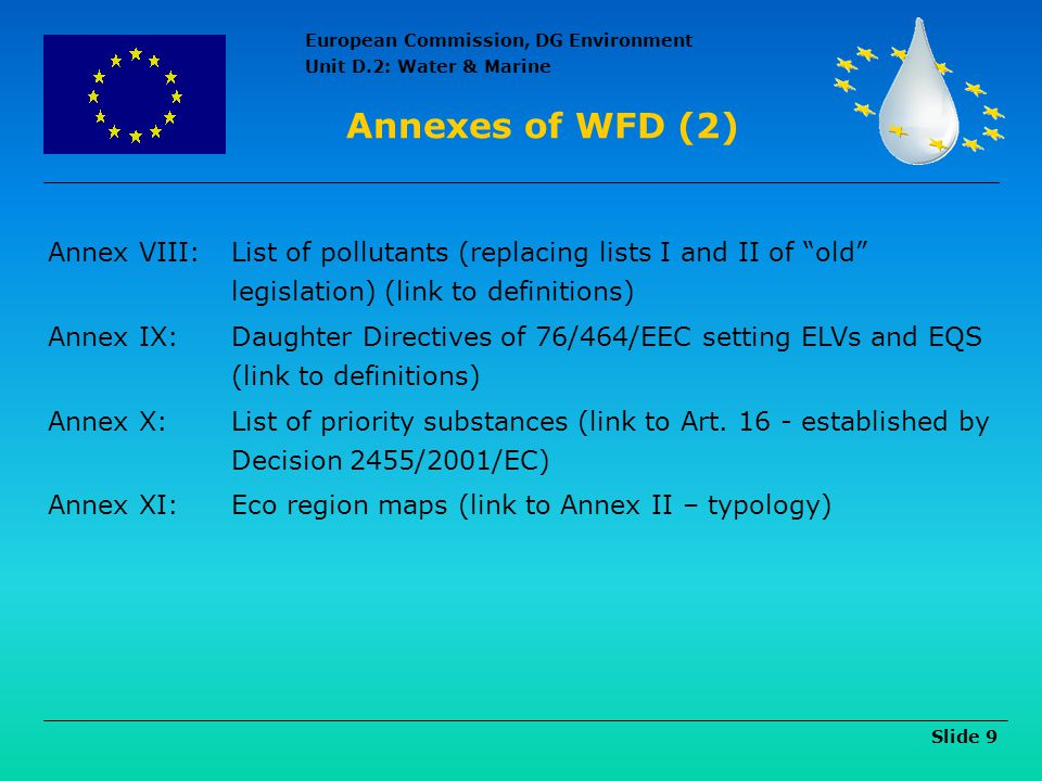 Annexes of WFD (2) Annex VIII: List of pollutants (replacing lists I and II of old legislation) (link to definitions)