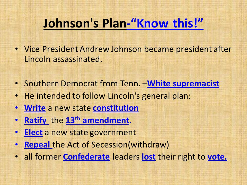 Johnson s Plan- Know this!