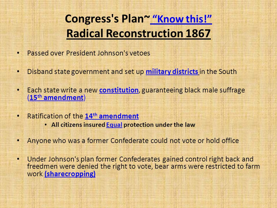 Congress s Plan~ Know this! Radical Reconstruction 1867