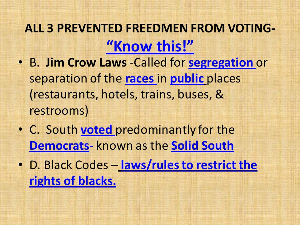 ALL 3 PREVENTED FREEDMEN FROM VOTING- Know this!