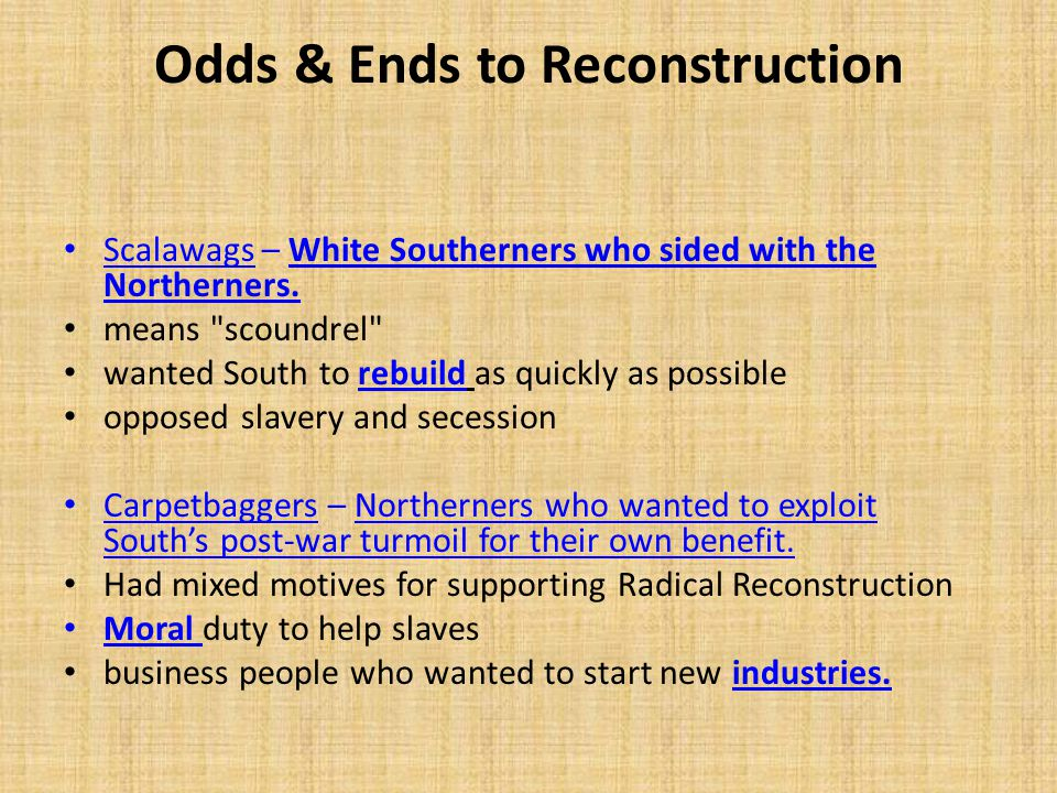 Odds & Ends to Reconstruction