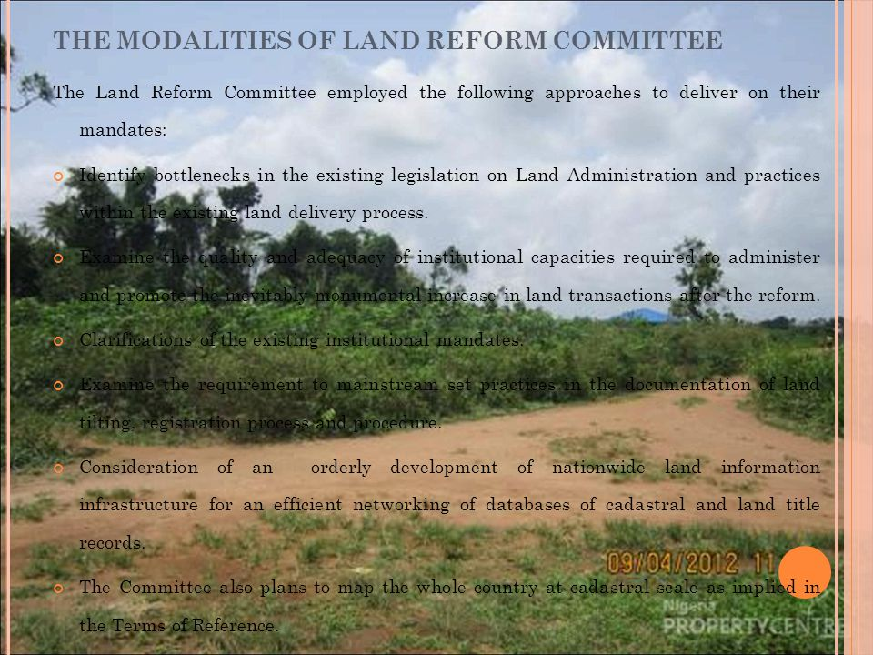 THE MODALITIES OF LAND REFORM COMMITTEE