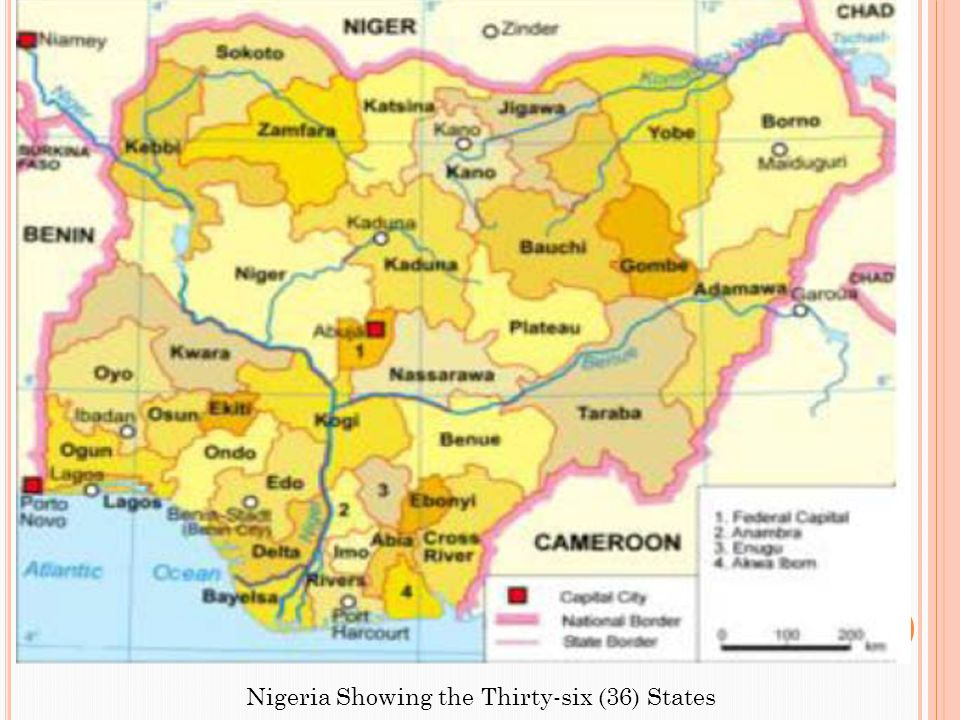 Nigeria Showing the Thirty-six (36) States