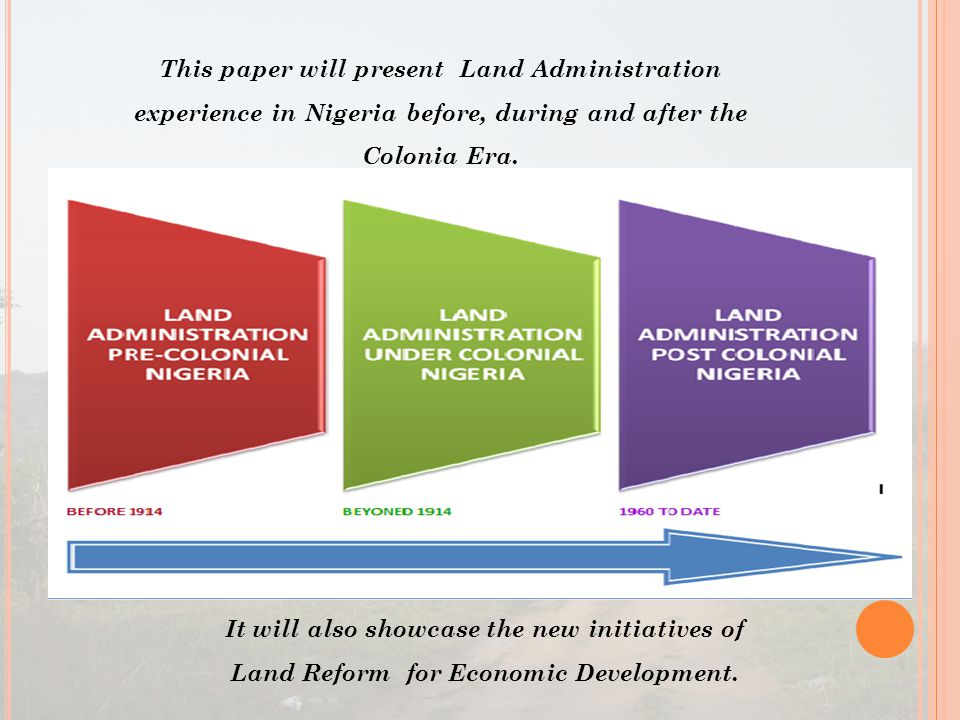 This paper will present Land Administration experience in Nigeria before, during and after the Colonia Era.
