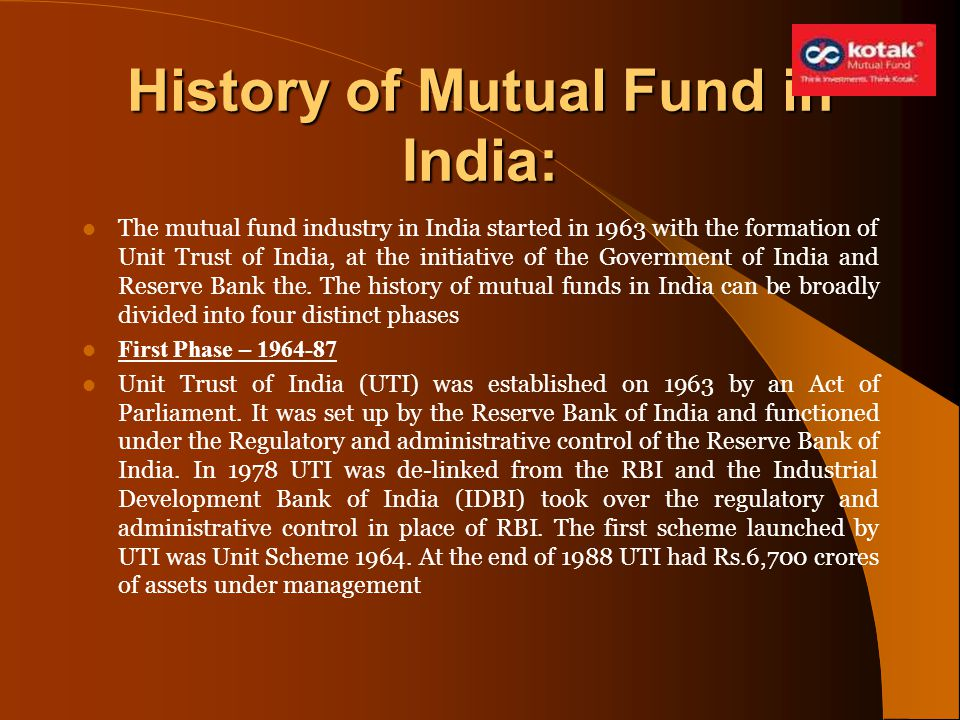 History of Mutual Fund in India: