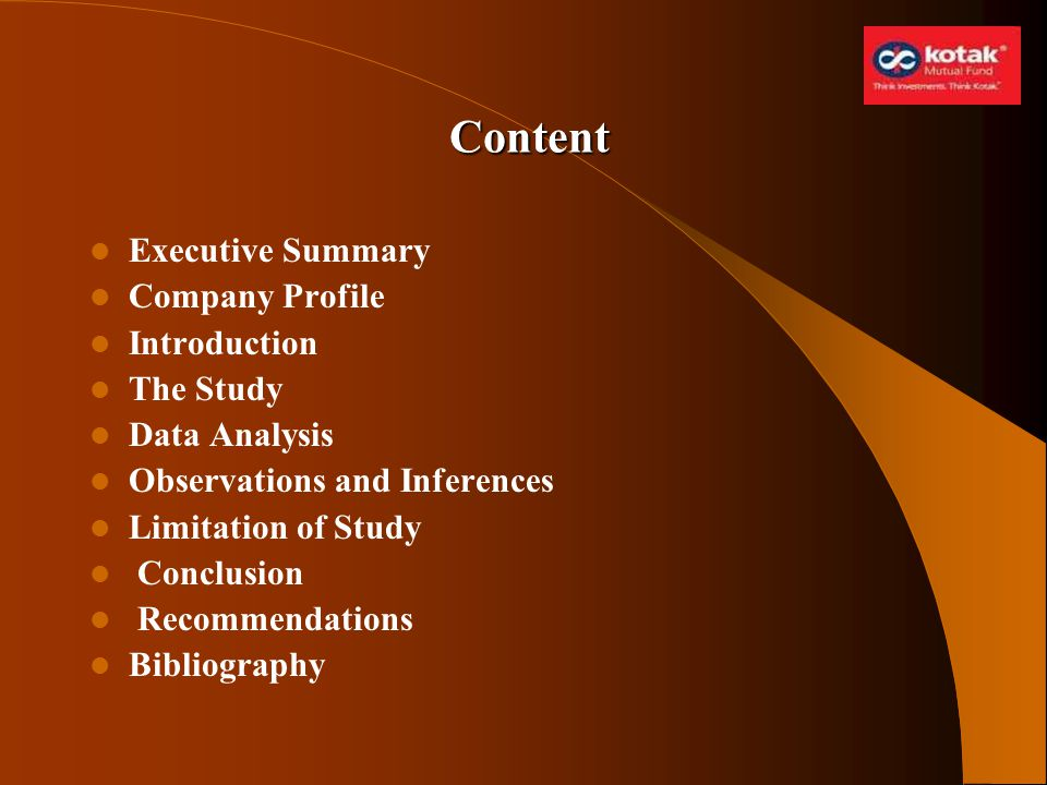 Content Executive Summary Company Profile Introduction The Study