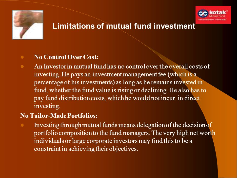 Limitations of mutual fund investment