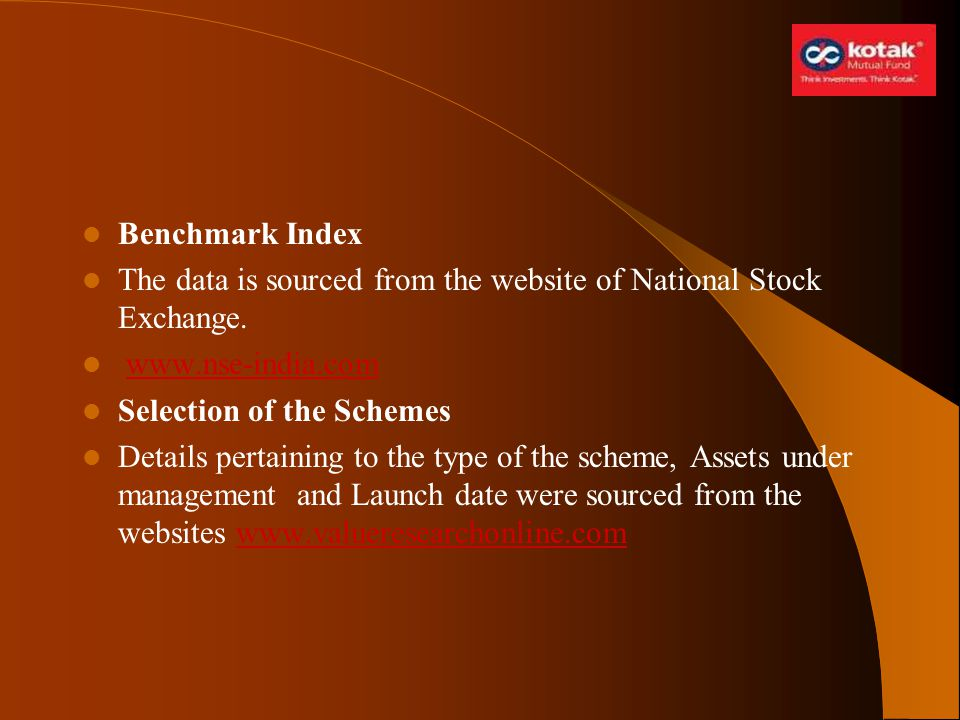 Benchmark Index The data is sourced from the website of National Stock Exchange. www.nse-india.com.