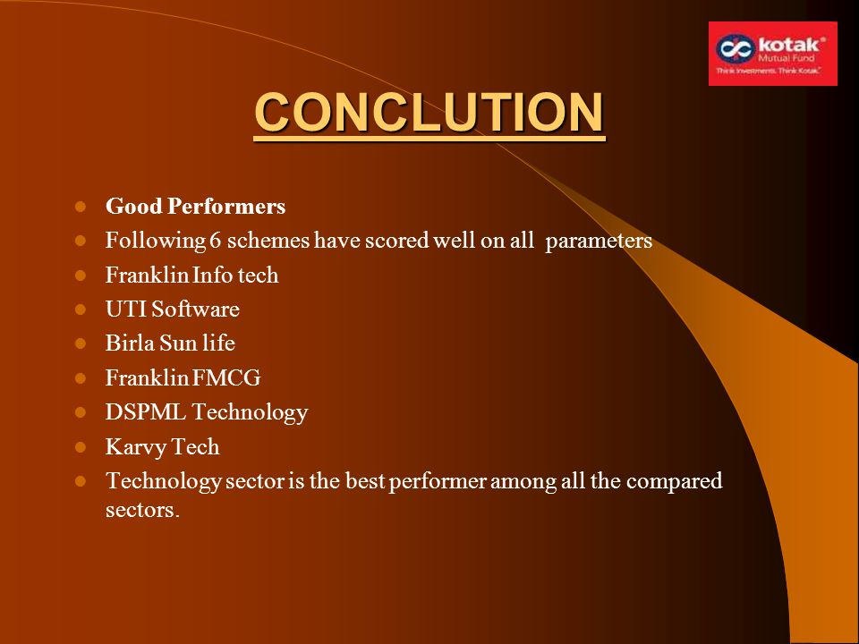 CONCLUTION Good Performers