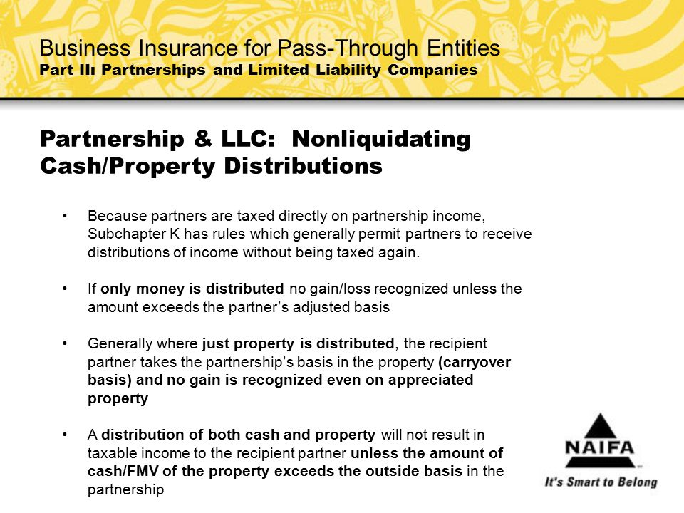 Partnership & LLC: Nonliquidating Cash/Property Distributions