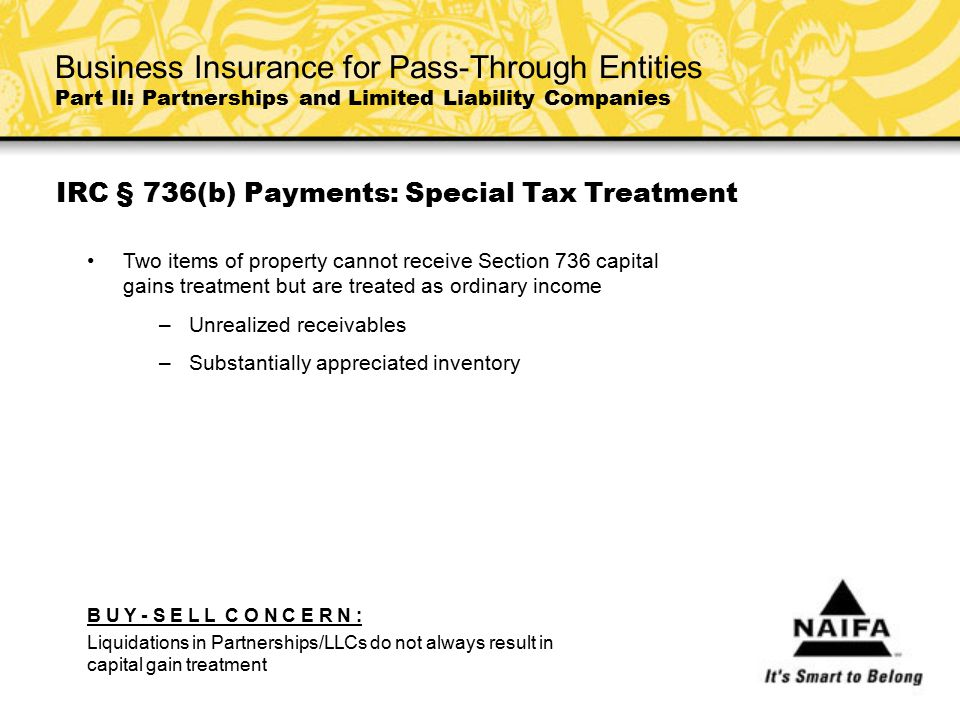IRC § 736(b) Payments: Special Tax Treatment