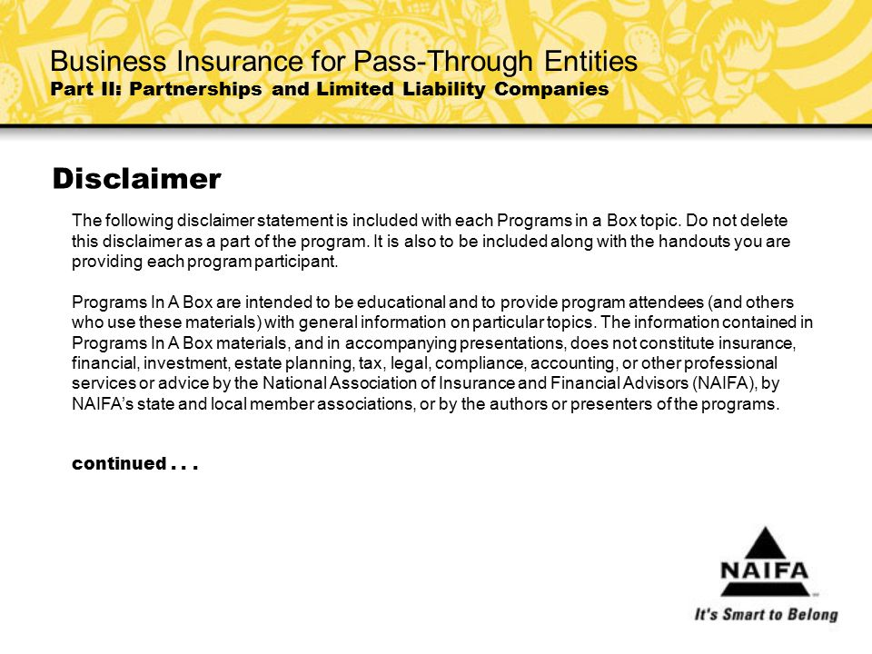 Business Insurance for Pass-Through Entities Part II: Partnerships and Limited Liability Companies