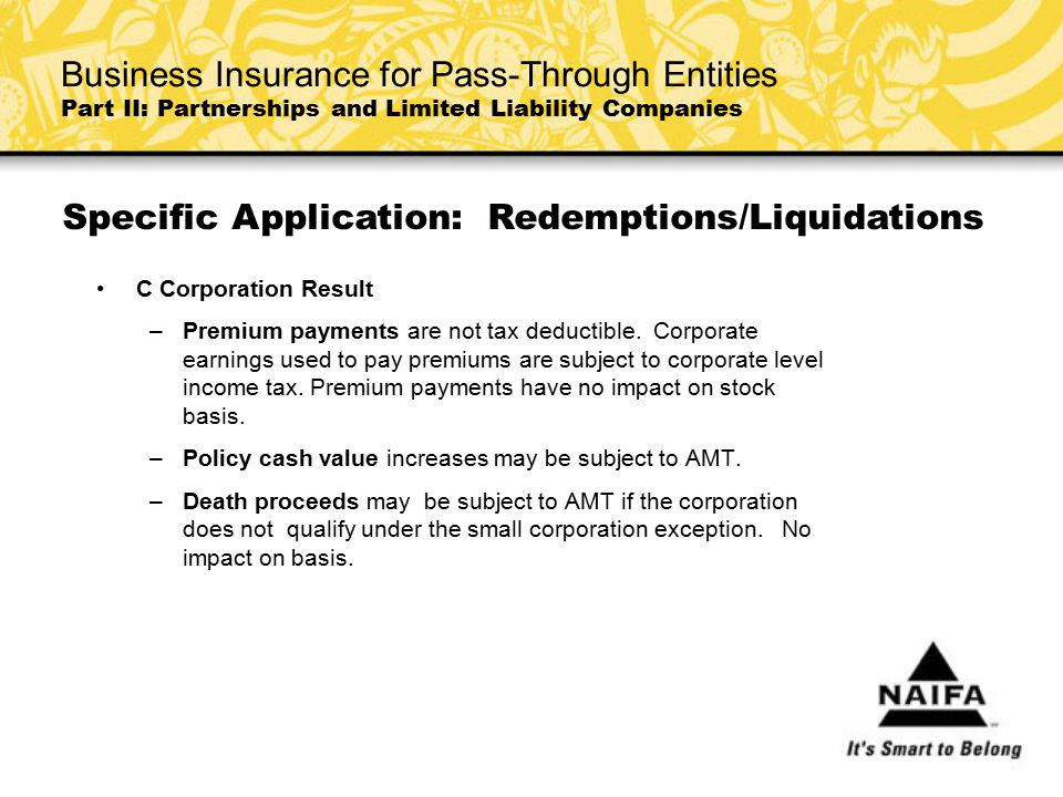 Specific Application: Redemptions/Liquidations