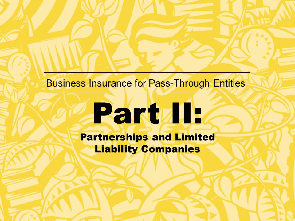 Part II: Partnerships and Limited Liability Companies