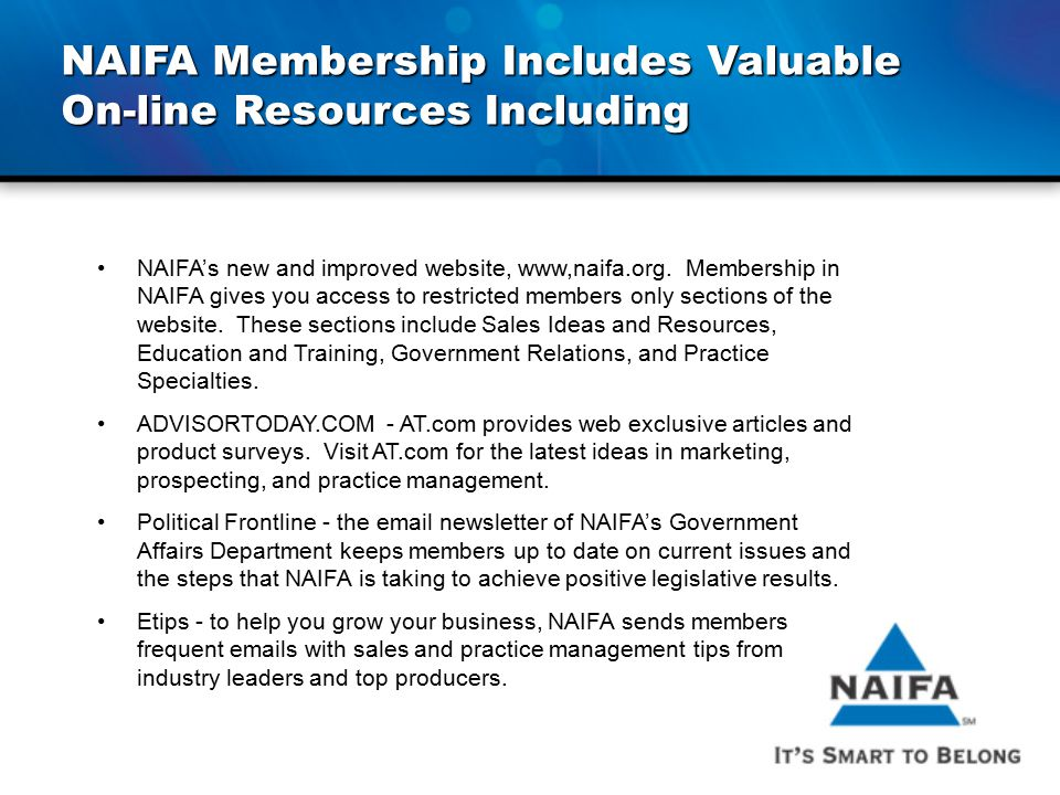 NAIFA Membership Includes Valuable On-line Resources Including