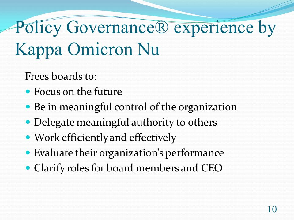 Policy Governance® experience by Kappa Omicron Nu